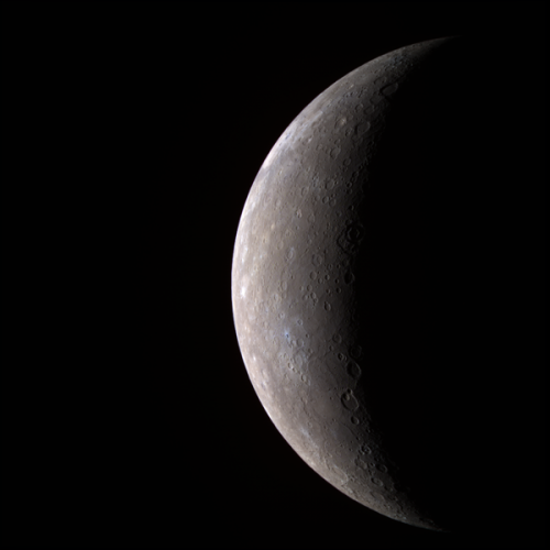 An image of the planet Mercury, taken from MESSENGER in 2008
